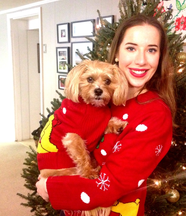 emily and bachy christmas sweaters